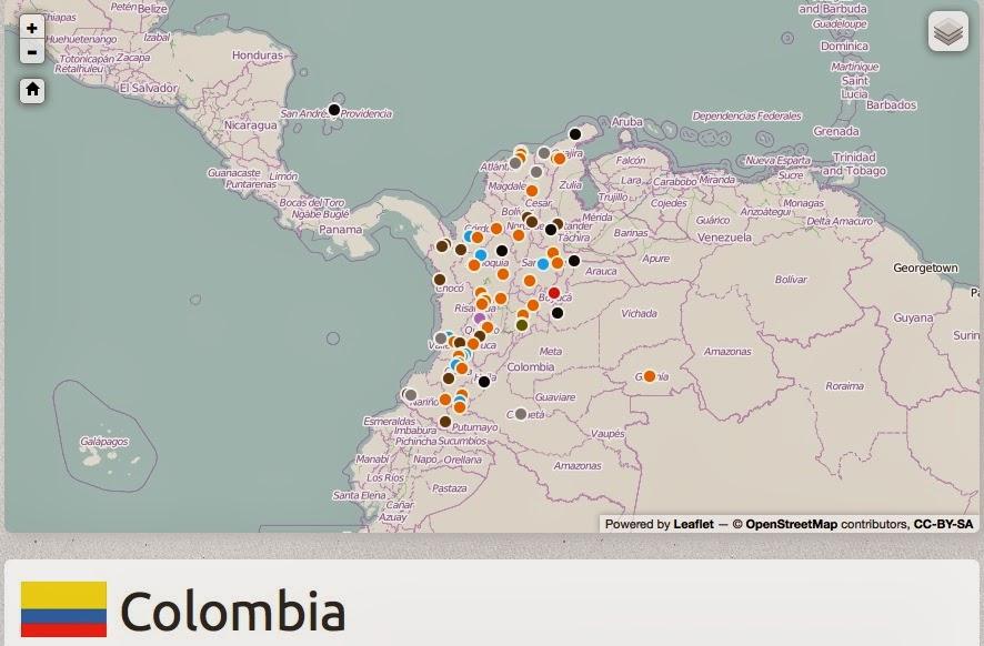 Mapa de Conflictos ambientales en Colombia