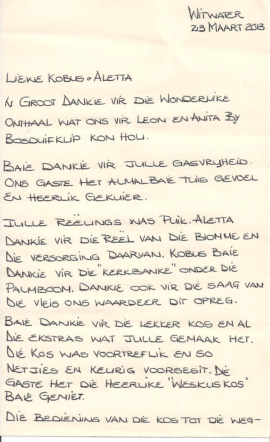 Troue 23 maart 2013: dankie brief