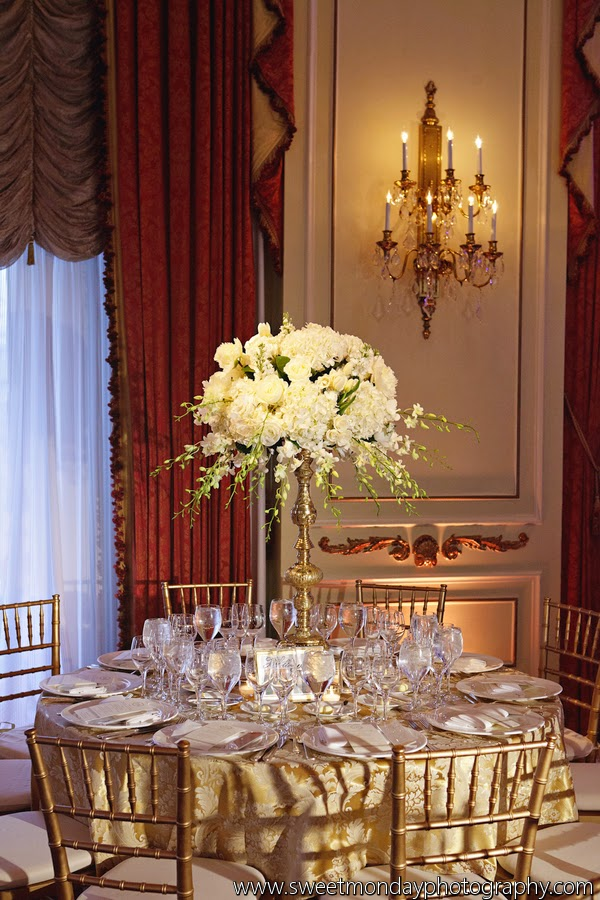 les fleurs : the taj ballroom : boston wedding florist : tall white centerpiece : gold pedestal