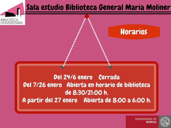 Horarios de la Sala estudio de la Biblioteca General María Moliner.