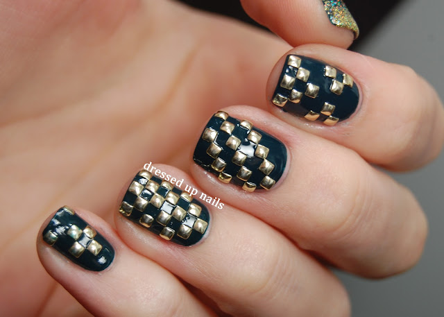Dressed Up Nails - geometric square stud nail art