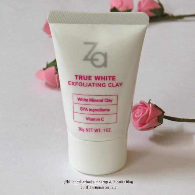 Za True White Exfoliating Clay Review, Pictures and Price in India, Za true white skin care range review, Best exfoliating clay mask available, Avene cleanance mask dupe, Skincare, face scrub, gentle face scrub, Best skincare brand, Za review, Za skincare review, Indian beauty blog, Indian beauty blogger, Indian makeup and beauty blog