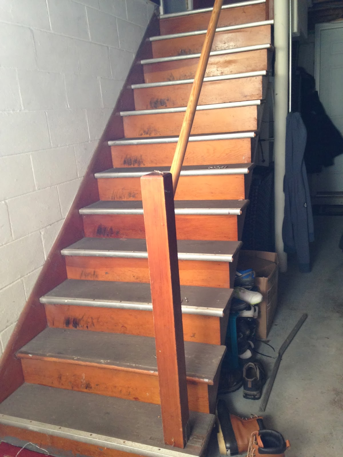 The Plan Was To Rip Up The Rubber Treads, Refinish The Natural Wood Treads  Underneath And Paint/stain The Rest Of The Stairs And Handrail.