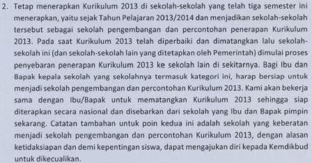 SK Mendikbud Penghentian dan Pelaksanaan Kurikulum 2013
