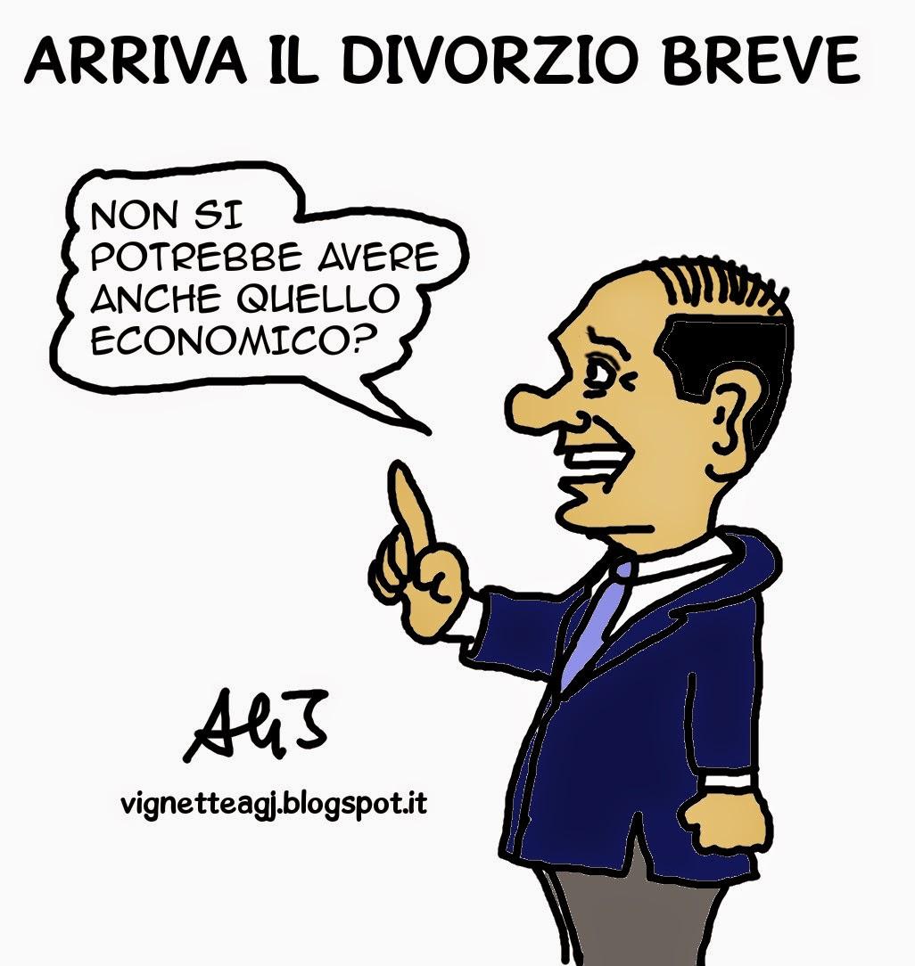 Berlusconi, divorzio breve, satira , vignetta