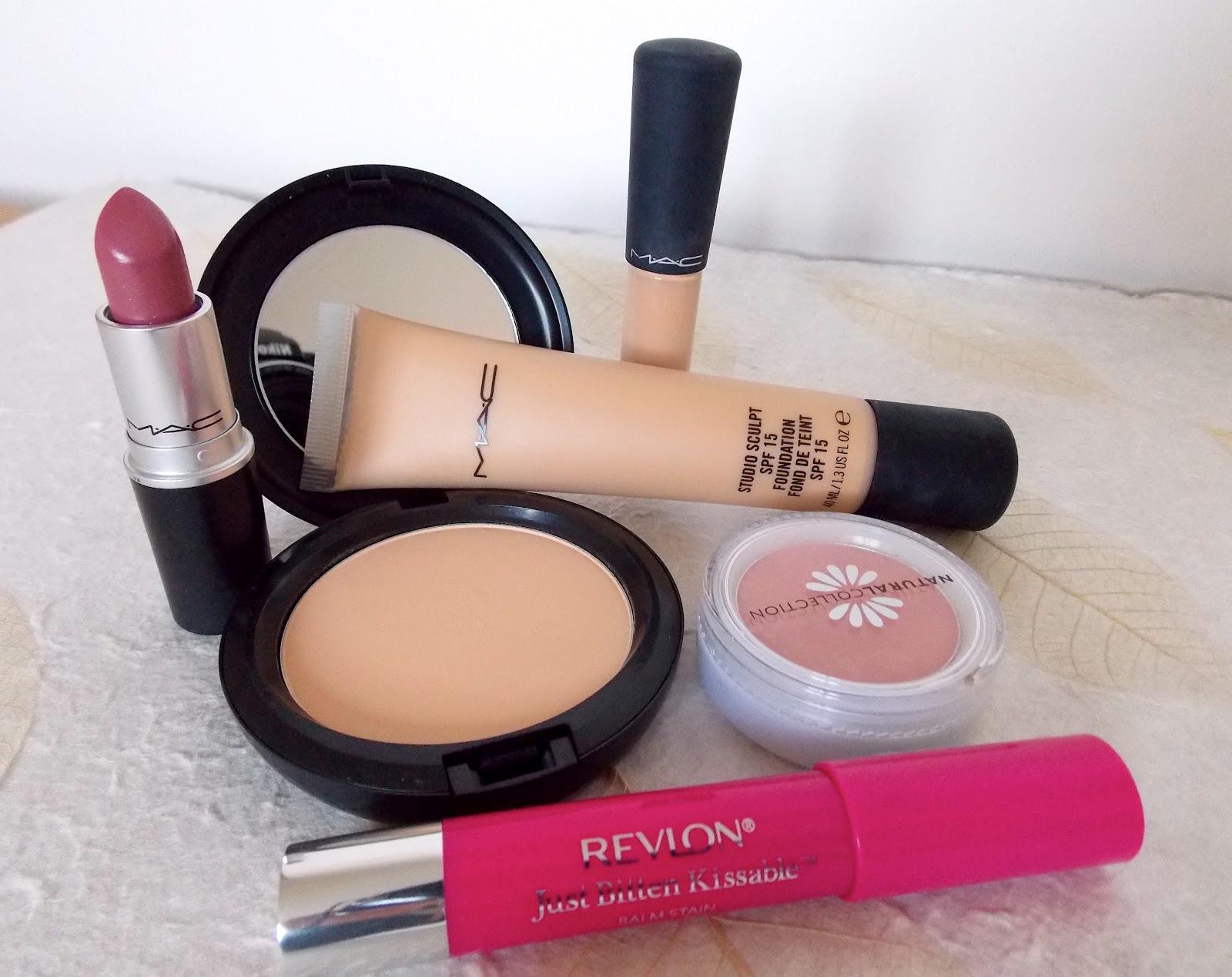 MAC Foundation, MAC Lipstick, Revlon Just Bitten Kissable balm Stain