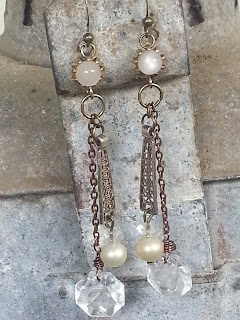 assemblage earrings with upcycled filigree, recycled moonstone earrings, vintage crystals and pearls