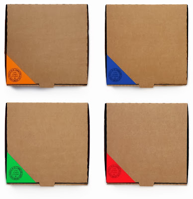 pizza boxes pimped with coloured corners