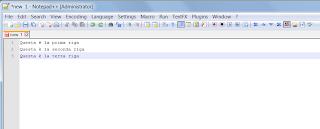 Notepad++ inserimento di più righe