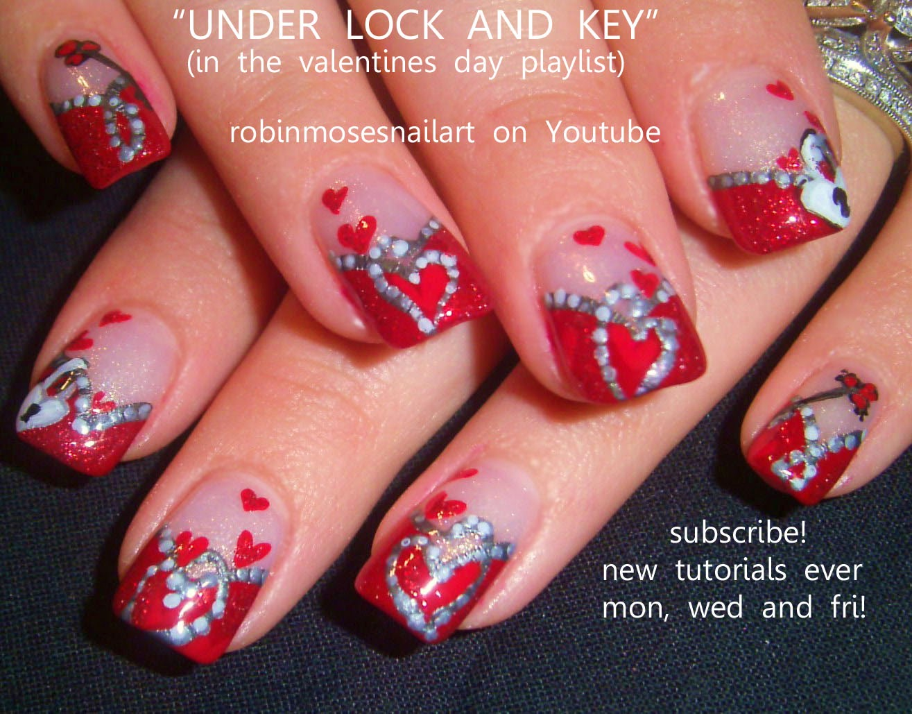Charming Robin Moses Nail Art Valentine Nails Nail Art Short   Valentine Nail Art