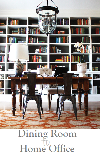 home office with bookshelves