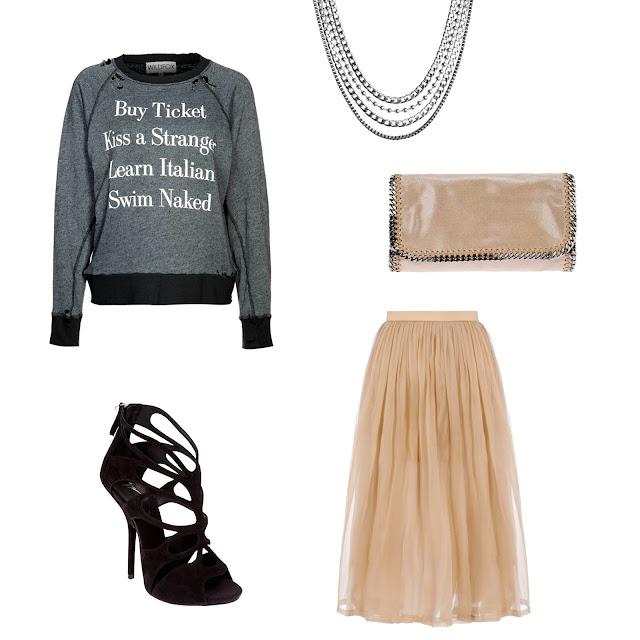 Stella Mccartney Falabella clutch, Danielle Carlotta 3/4 lenght skirt, Giuseppe Zanotti sandals, Sweet deluxe Jorine necklace, Wildfox sweater, kiss a stranger sweater