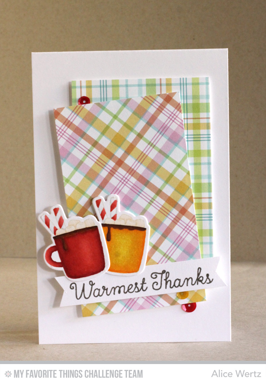 Mugs of Thanks Card by Alice Wertz featuring the Birdie Brown Merry Christmoose stamp set and Die-namics and the Laina Lamb Design Hug in a Mug stamp set #mftstamps