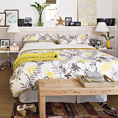 Home tour a light and airy beach retreat modern diy - White yellow and grey bedroom ...