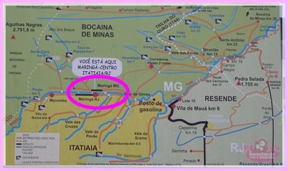 Mapa de localização das cachoeiras em Visconde de Mauá