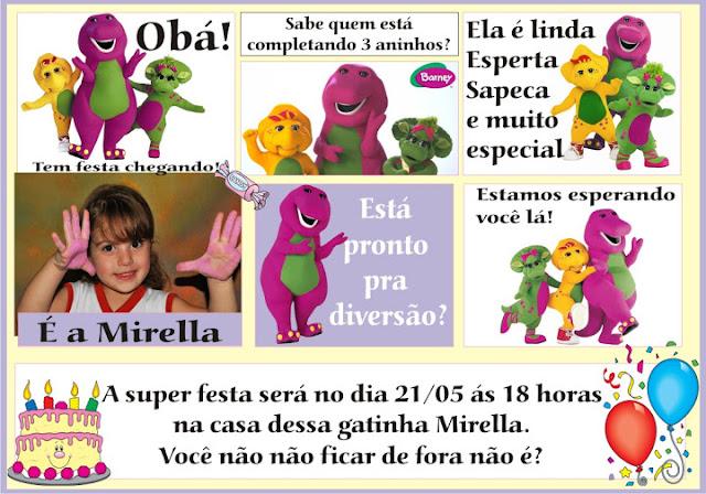 Convites Barney Festa Aniversário Infantil