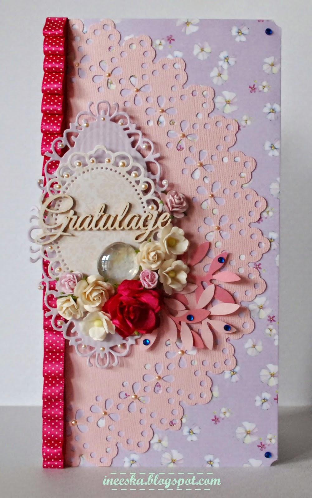 gratulacje, z okazji narodzin córeczki, róż, ineeska craft, ineeska, ineska