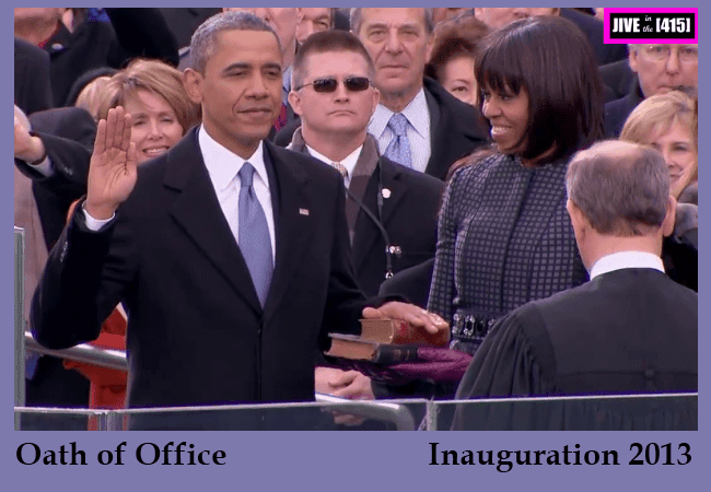 President Obama raises his right hand to take the oath of office Jan 21 2013