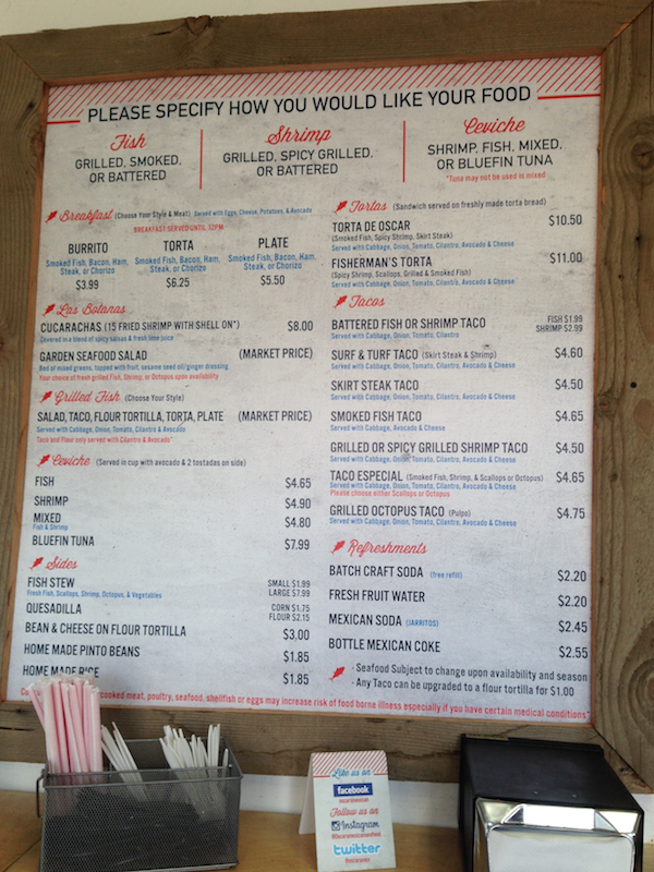 Oscar's Mexican Seafood menu