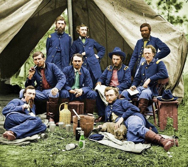 George Armstrong Custer and some of his fellow soldiers, during the American Civil War. 1863.