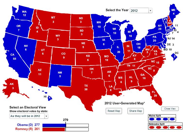 The Urban Politico The Urban Politicos 2012 Electoral Map Predictions