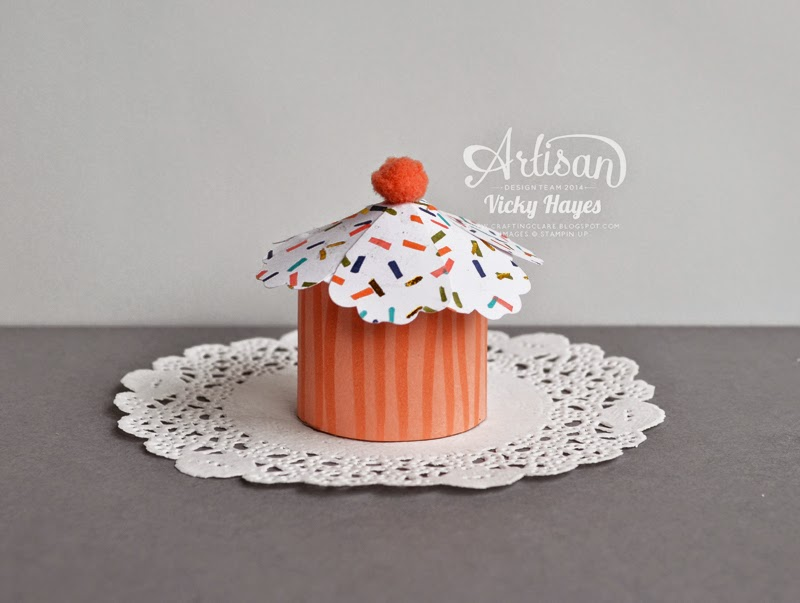 Cupcake shape treat box made with Stampin' Up paper and punches