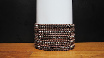 DIY: How To Make Chan Luu Style Men's 5 Wrap Bracelet - Antique Gunmetal Nuggets Wrap Bracelet On Natural Red Brown