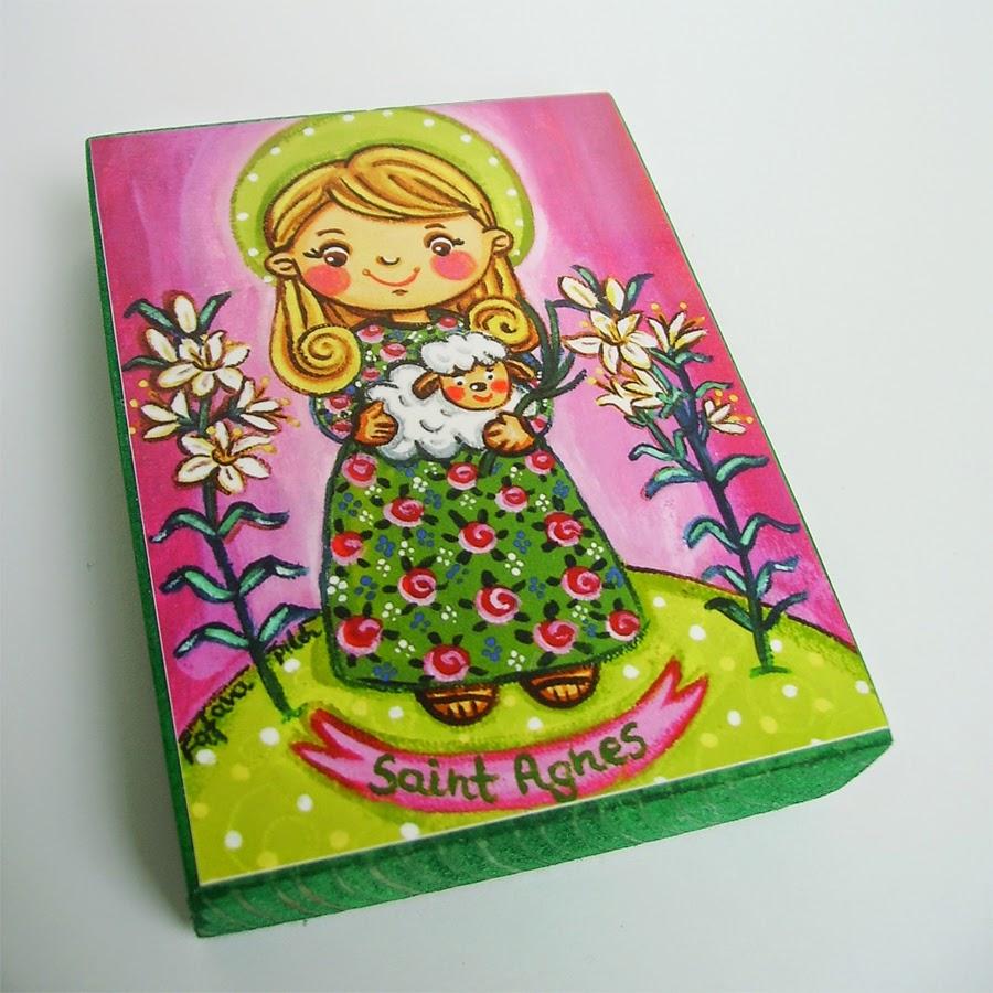 Drewniany obrazek obraz ilustracja święta patron Agnieszka święci błogosławiona błogosławiony dla dziewczynki chłopca chłopczyka dziecka prezent upominek na gwiazdkę ozdoba dekoracja bożonarodzeniowa świąteczna Jezus Chrystus Matka Boska Różańcowa różaniec Maryja dziecko pamiątka chrztu chrzest pierwsza bierzmowanie komunia narodziny urodziny