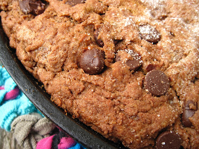 chocolate scones with chocolate chips in cast iron skillet