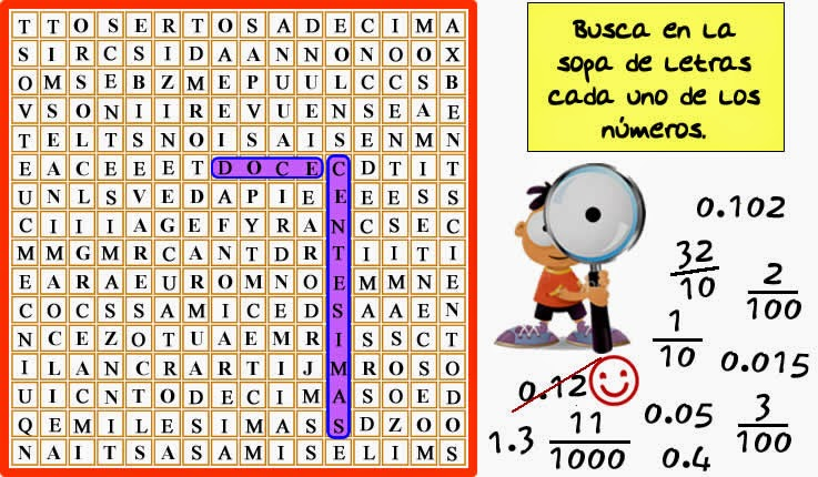 Reto matemático, Desafío matemático, Problema matemático, Decimales, Descubre el número, Problemas para pensar, Sopa de letras, Fracciones decimales