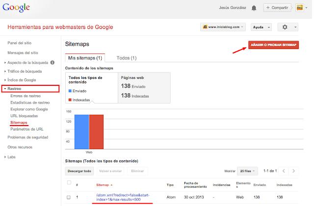 Añadiendo el Sitemap del Blog a las Herramientas para Webmasters de Google