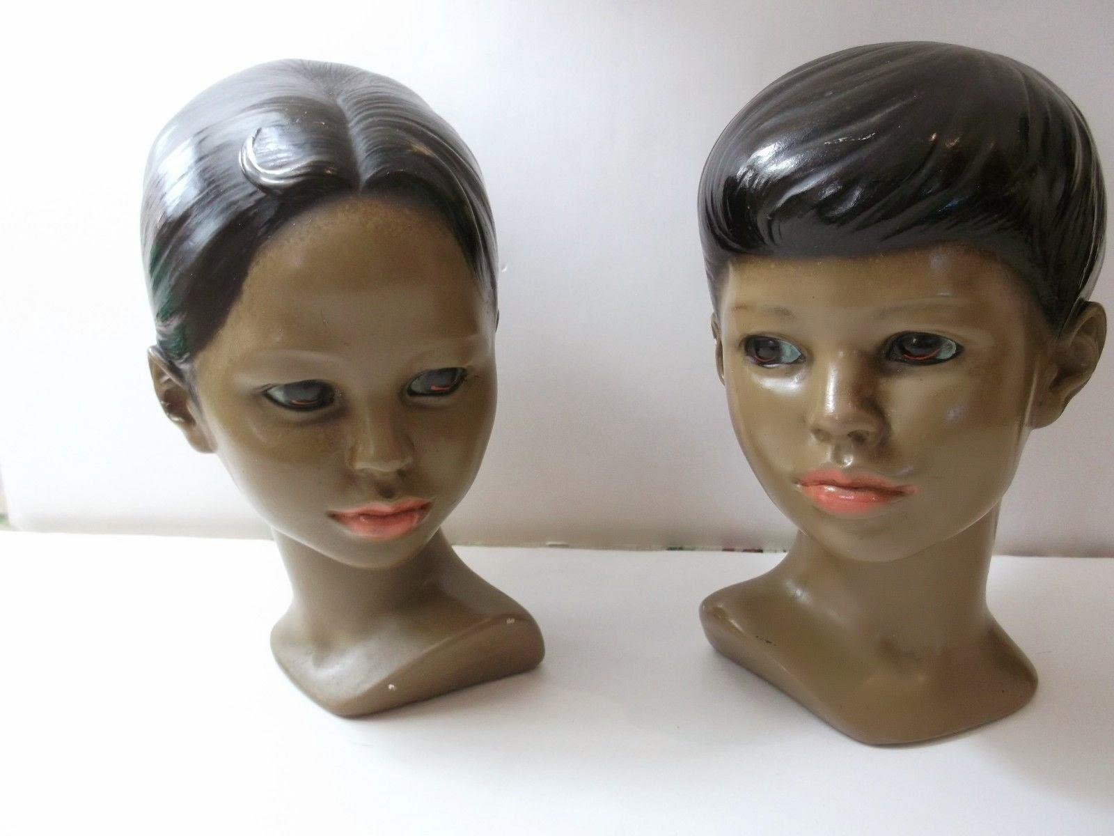 """Vintage Marwal Polynesian Bust Hawaiian Boy & Girl Head Sculpture Chalkware 8.5"""""""