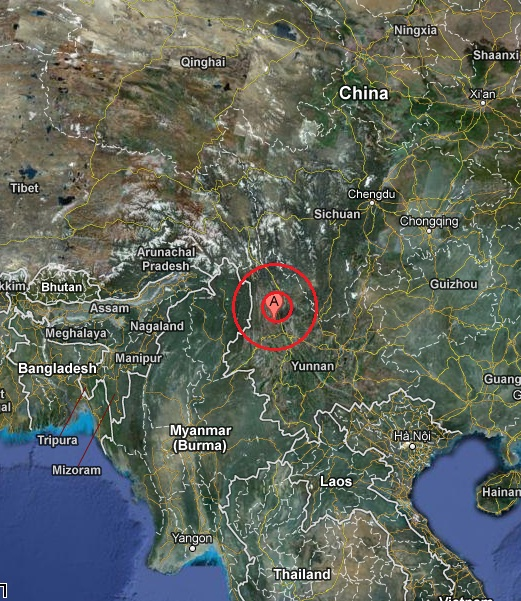 yunnan, china earthquake 2013 March 03