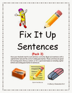 http://www.teacherspayteachers.com/Product/Fix-It-Up-Sentences-Capital-Letters-and-Ending-Punctuation-Pack-3-866644