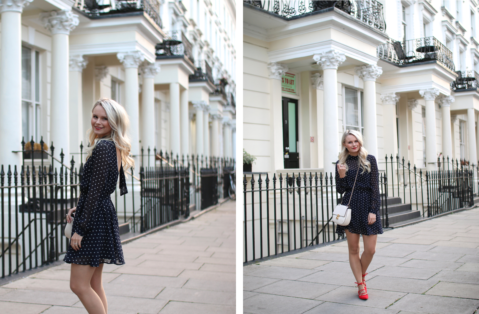 chloe drew dupe look a like from forever21, happy blonde girl twirls in london