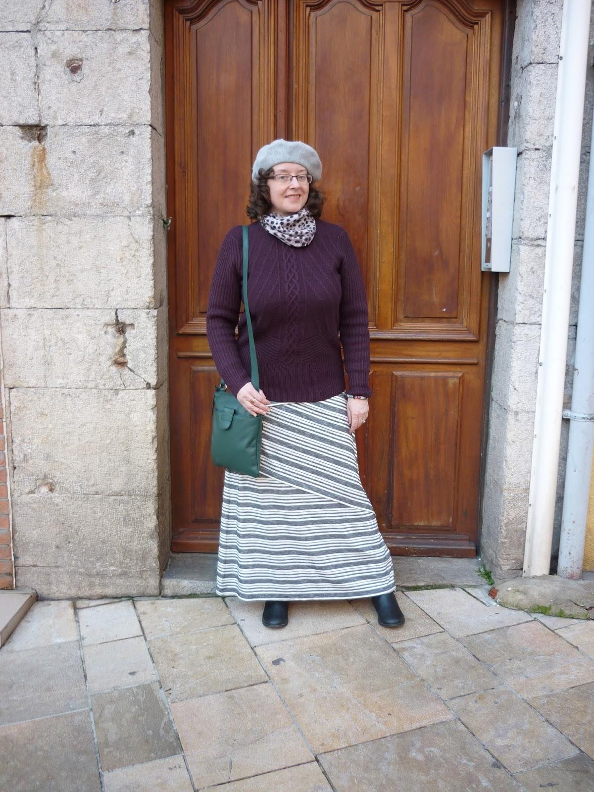 Grey striped Maxi Skirt, Principles Petite Jumper, Monsoon Beret | Petite Silver Vixen