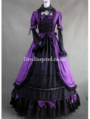 Purple and Black Lace Gothic Victorian Dress