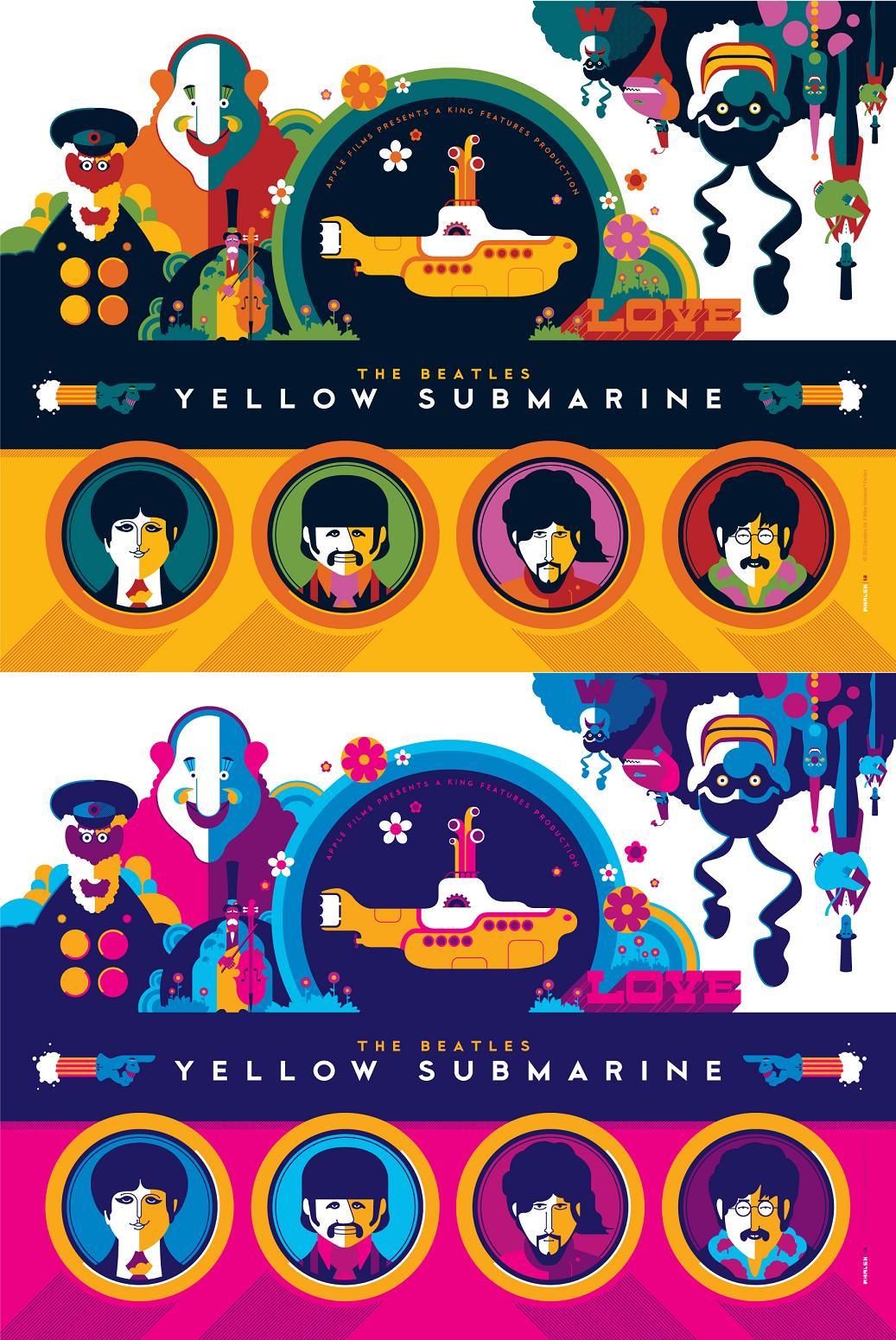 http://4.bp.blogspot.com/-fv2Ih1mvTxA/T6doPWzU1FI/AAAAAAAAPnE/jkNfuAxh0E8/s1600/The+Beatles+Yellow+Submarine+Print+Set+by+Tom+Whalen+-+Print+1+Standard+and+Pink+Variant+Editions.jpg