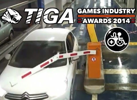 Image of a white Citroen car smashing through a car-park barrier. Above reads TIGA Games Industry Awards 2014. A Game Accessibility Information symbol is below, similar to the General Symbol of Accessibility but of a hybrid wheelchair user and game pad controller.