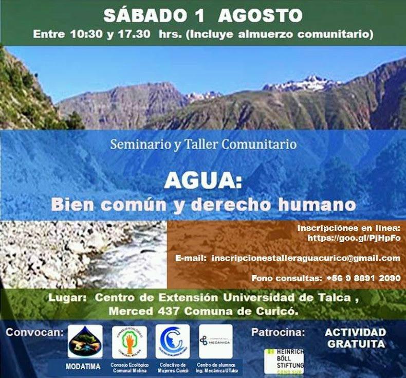 CURICO: SEMINARIO Y TALLER COMUNITARIO AGUA: BIEN COMÚN Y DERECHO HUMANO