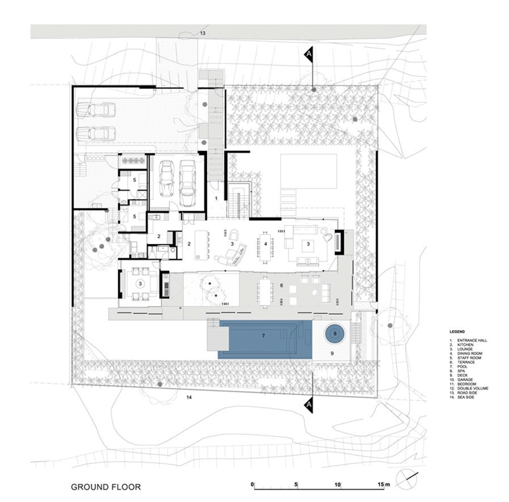 Ground floor plan in African modern villa in Durban by SAOTA