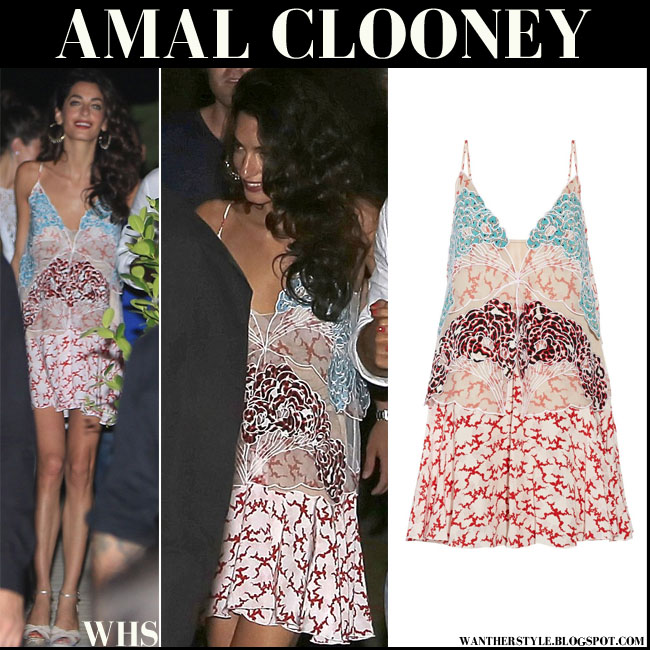 Amal Clooney in embroidered printed silk mini dress stella mccartney what she wore