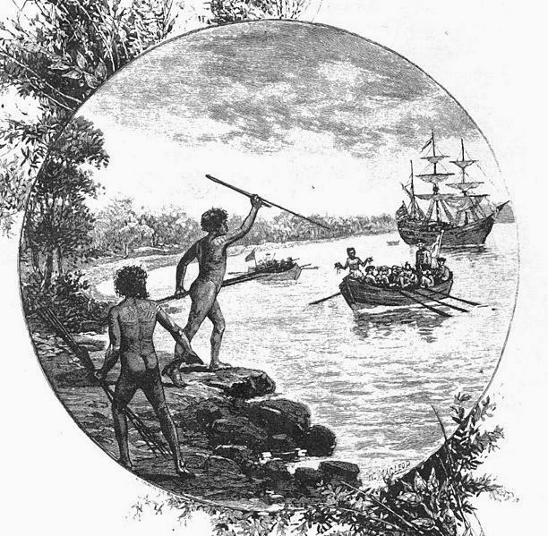 The crew of the Endeavour come ashore; from Australia: the first hundred years, by Andrew Garran, 1886