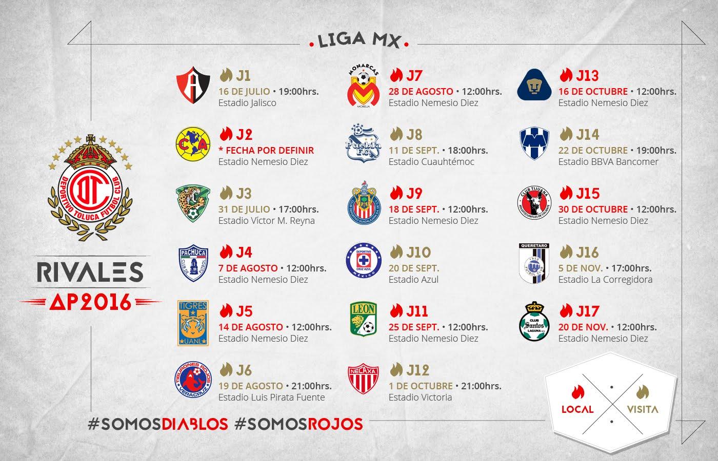Calendario Toluca Apertura 2016 - Diablos de Toluca