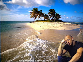 Wallpaper of Vin Diesel Action Movie Actor Thinking About New Movie Project in Beautiful Island Desktop Wallpaper