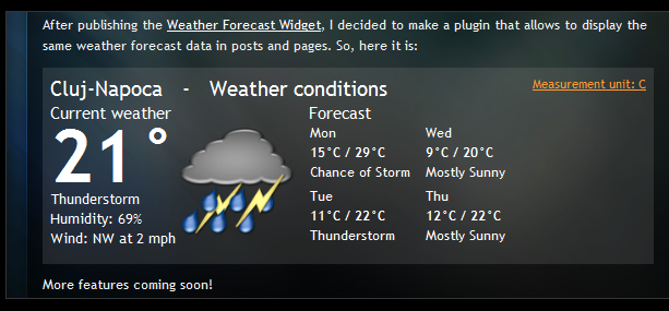 Weather Forcast Wordpress Plugin