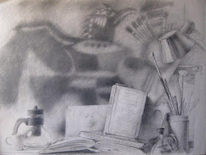 DIBUJO DE BODEGÓN para iniciales -carboncillo de Gustavo Gonzalez Echeverria
