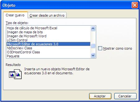 Microsoft Editor De Ecuaciones 3.0.