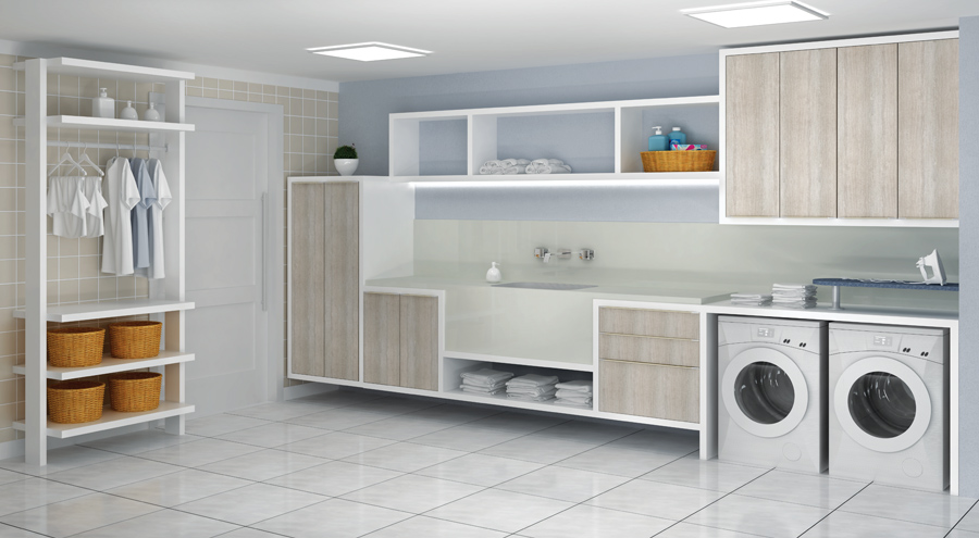 Aparador Branco Lacado ~ Construindo Minha Casa Clean Lavanderias Lindas! Modernas
