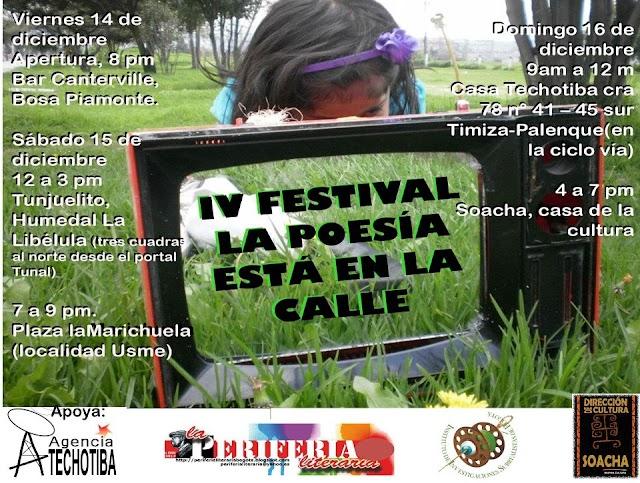 "La Periferia Literaria invita al IV Festival ""La poesía está en la calle"", en la Plaza La Marichuela, Usme"